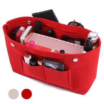 Felt Fabric Handbag Organizer Purse Organizer Insert Bag Multi-Pocket Travel for Tote Bag
