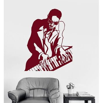 Vinyl Wall Decal Jazz Black African Man Musical Instrument Piano Stickers Unique Gift (ig3054)