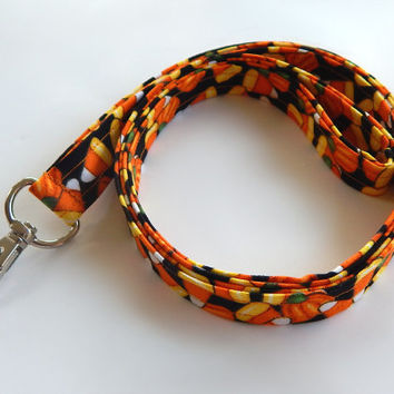 Halloween Lanyard / Candy Corn / Pumpkin Keychain / Pumpkins / Key Lanyard / ID Badge Holder / Cute Lanyards