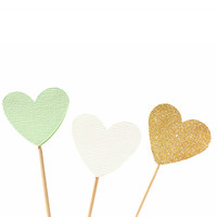 Mint, gold and ivory heart cupcake toppers / party picks