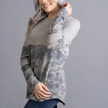 Heather Grey and Camo Two Tone Top