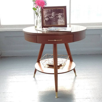 Vintage, Mersman, Mid Century, Entrance Table, Drum Table, End Table, Side Table, Lamp Table, Wood, Round, Two Tier, Three Leg Table