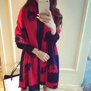Brand New Cashmere Shawl Scarves Women Winter  Bear Printed Scarf  Poncho Echarpe 190*70CM