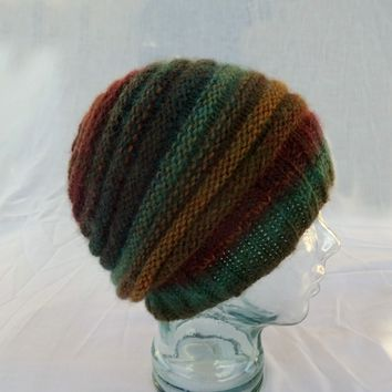 Knit Striped Hat Banded Slouchy Hat, Teal Green Golden Brown Red Cap, Striped Beanie
