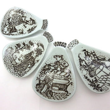 Nymolle Spoon Rests - Danish Art Pottery Set of Four Hans Christian Andersen Fairy Tales