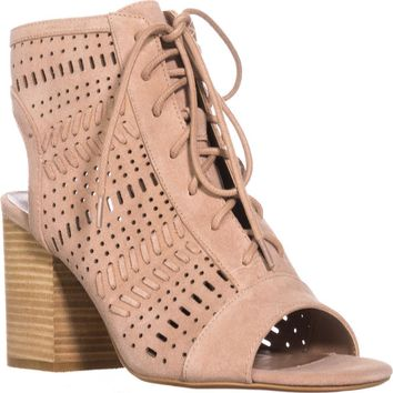 Steve Madden Gavell Lace Up Heeled Sandals, Camel Suede, 7 US