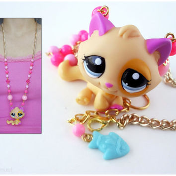 Pink Cat Necklace in Gold, Repurposed Littlest Pet Shop Figure, Long Beaded Chain - Kitsch Jewelry, Kawaii