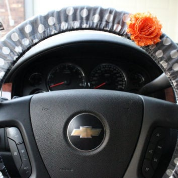 Gray Polka Dot Steering Wheel Cover with Coral Shabby Flower