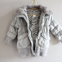 Japanese shimmery grey rabbit fur collar gem studs toddler quilted jacket fits 2 to 3 years old