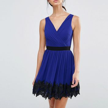 Little Mistress Lace Border Mini Dress at asos.com
