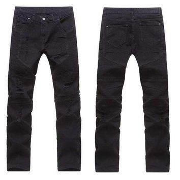 Mens stretchy ripped skinny biker jeans destroyed taped slim fit denim street outwear jeans