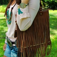 Brown Fringe Crossbody Purse