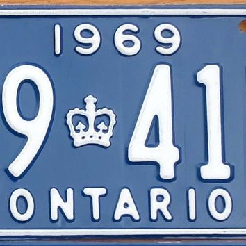 1969 Canada Ontario License Plate 79 41N