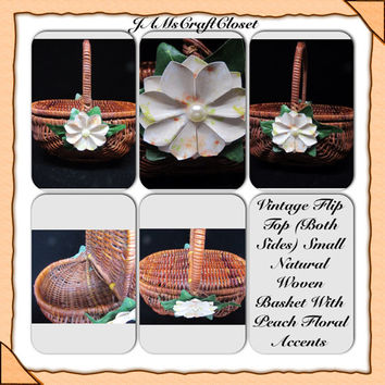 SMALL Unique Vintage Flip Top Natural Woven Basket-Peach Floral Accents-Bling-Cottage Chic-Home Decor-Country Decor-Gift-Storage-Collector