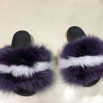 London Purple and white fox fur slides