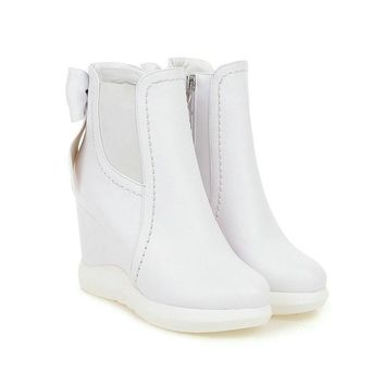 VINLLE - Sweet Bow Faux Leather Sneaker Inspired Wedge Bootie*