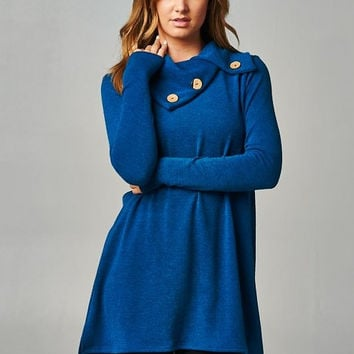 Teal Blue Button Hacci Sweater