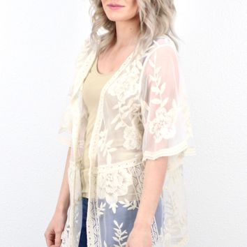 Perfect Sheer Mesh + Lace Kimono {Natural}