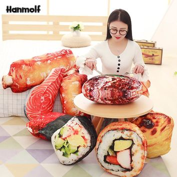 Simulated Food Pillow Stuffed Plush Sushi/Pork Ribs/Egg Tart/Beefsteak/Nori Rice/Salmon Snack Toy Sofa Creative Decor Pillow