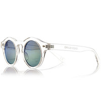 River Island MensWhite transparent round sunglasses