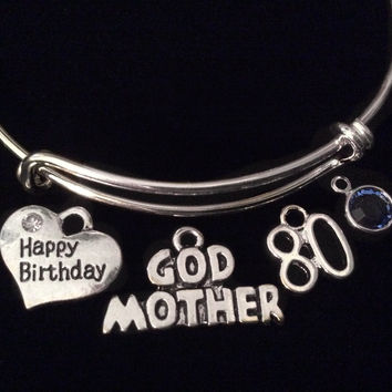 Happy Birthday 80th Godmother with Birthstone Silver Expandable Charm Bracelet Adjustable Bangle Trendy Stacking Handmade God Mother