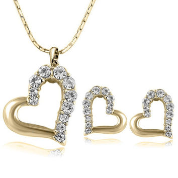2015 New 18k Gold Plated Fashion Lovely Cute Double Heart Necklace and Earring Crystal Jewelry Sets For Women Girls Jewellery