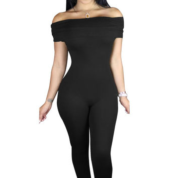 Black Off Shoulder Jumpsuit Long Pants Overalls For Rompers  Casual Bodycon  Jumpsuits 64052 SM6