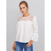 Floral Lace Yoke Cut Out Insert Sleeve Blouse