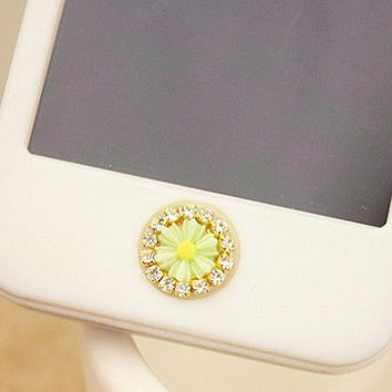 1 pcs  Bling Crystal Resin Flower iPhone Home Button Sticker for iPhone 4,4s,4g, iPhone 5, iPad, Cell Phone Charm
