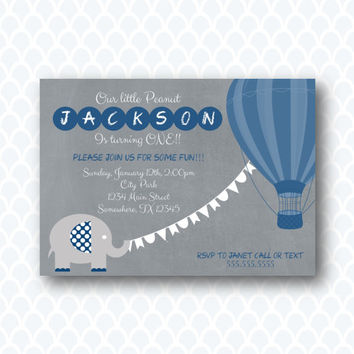 Blue & Gray elephant hot air balloon Birthday Invitation Digital Printable Invitation.  Boy Birthday.  Up Up and Away Invitation. DIY Invite