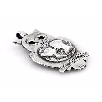Owl coin necklace with the couple coin medallion 925 sterling silver coin medallion one of a kind handemade design