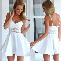 Two Straps Short White Lace Dress Summer Dress