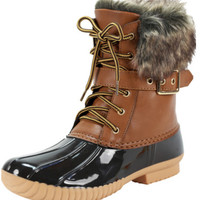 Duck Boots with the Fur - Tan/Black