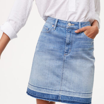 Unpicked Denim Shift Skirt | LOFT
