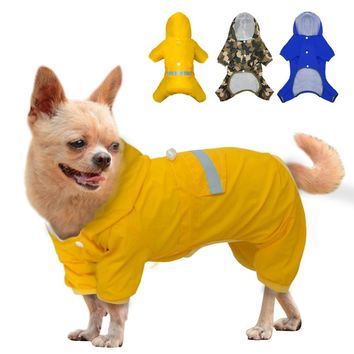 Camouflage Dog Raincoat Clothes Pet Puppy Waterproof Jacket Reflective Dog Rain Coat Hooded Cat Coat For Small Medium dogs S M L