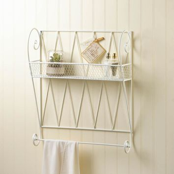 WHITE WIRE WALL SHELF