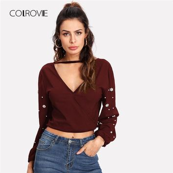 Pearls Detail Self Tie Back Blouse Shirt Fall New Burgundy Knot Sexy Top V Neck Female Blouse Women Blouse