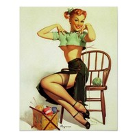 Vintage retro Gil Elvgren Knitting Pin Up Girl