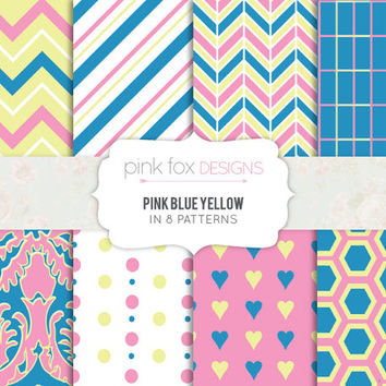 Pink Blue and Yellow Patterned Digital Scrapbooking Paper 8 Printable Sheets Digital Download chevron stripes herringbone hearts damask