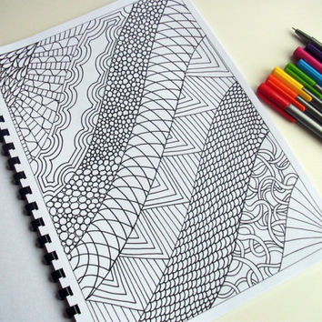 Printable Coloring Page Zentangle Inspired PDF by JoArtyJo on Etsy