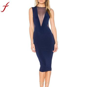 Sexy Perspective Hollow Out Summer Sheath Sleeveless Zippers Evening Party Knee-Length Dress