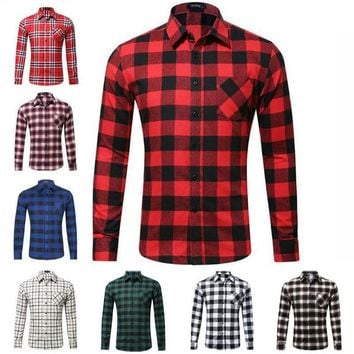 Retro Vintage Tartan Long Sleeve Men Plaid Flannel Shirt
