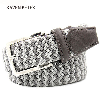 "Elastic Belt Men Woven Elastic Belt High Quality Braided Woven Elastic Stretch Belt With Covered Buckle1-3/8"" Wide"