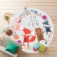 2017 New Fashion Cute Fox Horse Owl Elephant Cartoon Round Carpet Non-Slip Multi 11 Colors Round Floor Mat kids Bedroom Rugs