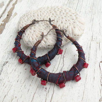 Gypsy Hoop Earrings, Medium Silk Wrapped Eclectic Bohemian Copper Hoops in Dark Blue and Red
