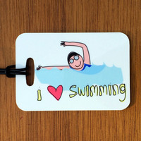 I Heart Swimming- Sport Bag Tag, Swim Bag Tag, Swim Team Bag Tag, Luggage Tag