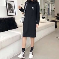 """Adidas"" Women Casual Fashion Letter Print Long Sleeve Hoodie Sweater Dress"