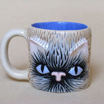 OOAK CAT MUG Large Ceramic Entirely Handmade Cofee Tea Cup / Unique Original Valentine's Day Gift / royal blue light grey gray white black