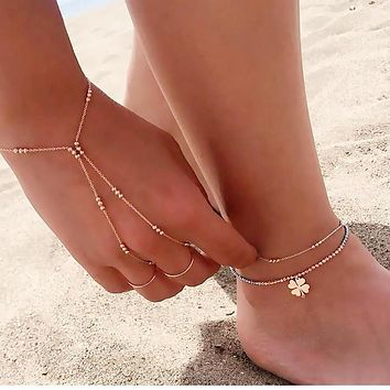 Gold Plain Three Rounds Together Slave Bracelet Hand Chain | 925 Sterling Silver
