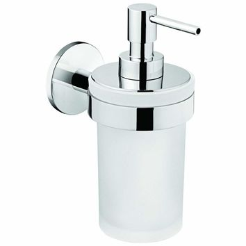 Round Self Adhesive Pump Soap Lotion Dispenser Glass for Bathroom, Brass Chrome